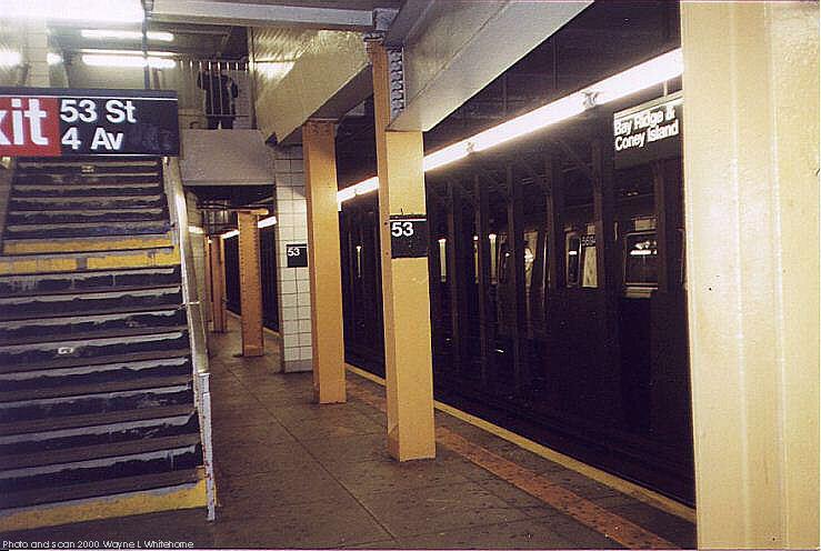 (70k, 739x496)<br><b>Country:</b> United States<br><b>City:</b> New York<br><b>System:</b> New York City Transit<br><b>Line:</b> BMT 4th Avenue<br><b>Location:</b> 53rd Street <br><b>Photo by:</b> Wayne Whitehorne<br><b>Date:</b> 1/15/2000<br><b>Viewed (this week/total):</b> 3 / 4510