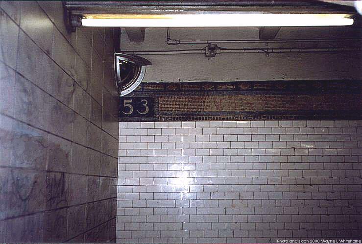 (69k, 739x498)<br><b>Country:</b> United States<br><b>City:</b> New York<br><b>System:</b> New York City Transit<br><b>Line:</b> BMT 4th Avenue<br><b>Location:</b> 53rd Street <br><b>Photo by:</b> Wayne Whitehorne<br><b>Date:</b> 1/15/2000<br><b>Notes:</b> Original tile<br><b>Viewed (this week/total):</b> 0 / 3446