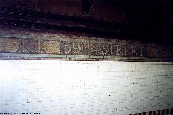 (54k, 740x490)<br><b>Country:</b> United States<br><b>City:</b> New York<br><b>System:</b> New York City Transit<br><b>Line:</b> BMT 4th Avenue<br><b>Location:</b> 59th Street <br><b>Photo by:</b> Wayne Whitehorne<br><b>Date:</b> 6/4/1999<br><b>Notes:</b> Wall tile<br><b>Viewed (this week/total):</b> 0 / 2786