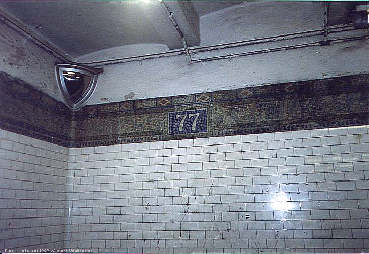 (79k, 728x501)<br><b>Country:</b> United States<br><b>City:</b> New York<br><b>System:</b> New York City Transit<br><b>Line:</b> BMT 4th Avenue<br><b>Location:</b> 77th Street <br><b>Photo by:</b> Wayne Whitehorne<br><b>Date:</b> 6/4/1999<br><b>Notes:</b> Original tile<br><b>Viewed (this week/total):</b> 2 / 3595