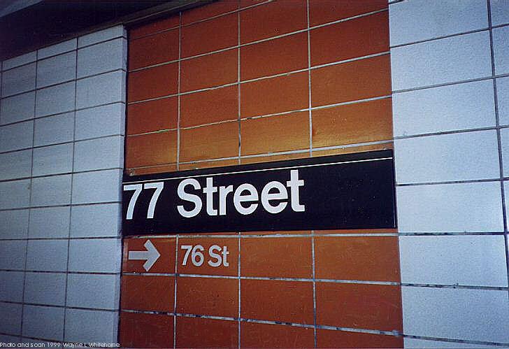 (64k, 728x499)<br><b>Country:</b> United States<br><b>City:</b> New York<br><b>System:</b> New York City Transit<br><b>Line:</b> BMT 4th Avenue<br><b>Location:</b> 77th Street <br><b>Photo by:</b> Wayne Whitehorne<br><b>Date:</b> 6/4/1999<br><b>Notes:</b> 1960s refrigerator tile<br><b>Viewed (this week/total):</b> 0 / 3265