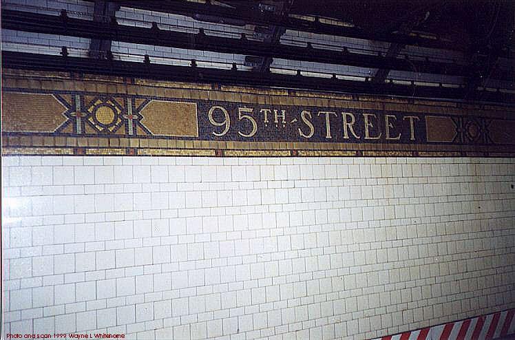 (77k, 748x494)<br><b>Country:</b> United States<br><b>City:</b> New York<br><b>System:</b> New York City Transit<br><b>Line:</b> BMT 4th Avenue<br><b>Location:</b> 95th Street/Fort Hamilton <br><b>Photo by:</b> Wayne Whitehorne<br><b>Date:</b> 6/4/1999<br><b>Notes:</b> Wall tile<br><b>Viewed (this week/total):</b> 0 / 3405