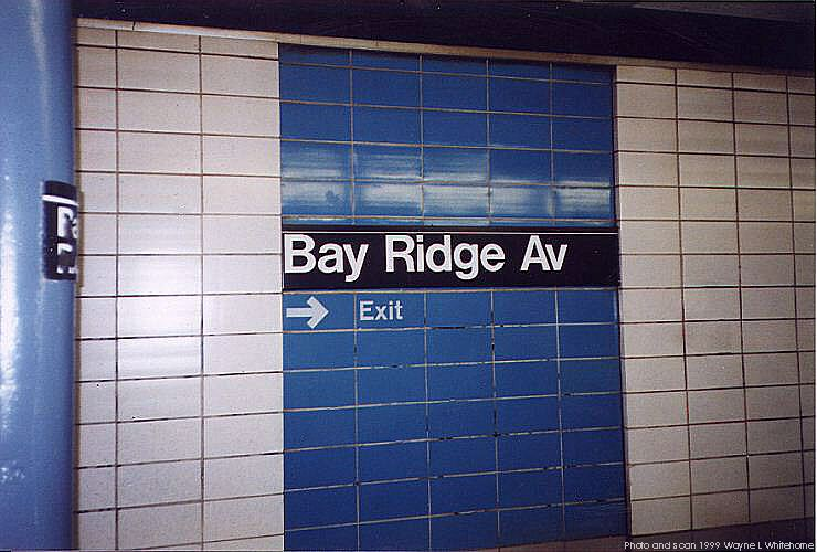 (68k, 740x500)<br><b>Country:</b> United States<br><b>City:</b> New York<br><b>System:</b> New York City Transit<br><b>Line:</b> BMT 4th Avenue<br><b>Location:</b> Bay Ridge Avenue <br><b>Photo by:</b> Wayne Whitehorne<br><b>Date:</b> 6/4/1999<br><b>Notes:</b> 1960s refrigerator tile<br><b>Viewed (this week/total):</b> 10 / 4225