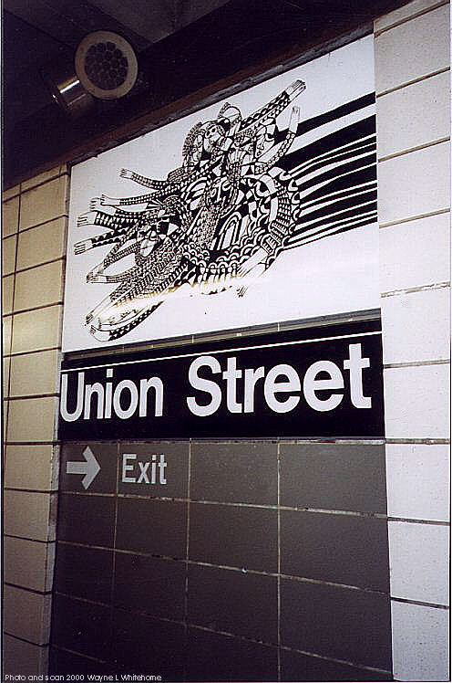 (85k, 496x748)<br><b>Country:</b> United States<br><b>City:</b> New York<br><b>System:</b> New York City Transit<br><b>Line:</b> BMT 4th Avenue<br><b>Location:</b> Union Street <br><b>Photo by:</b> Wayne Whitehorne<br><b>Date:</b> 1/15/2000<br><b>Artwork:</b> <i>CommUnion</i>, Emmett Wigglesworth (1994).<br><b>Notes:</b> Art installation, platform level.<br><b>Viewed (this week/total):</b> 0 / 4235