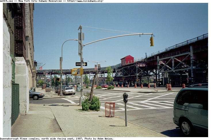 (69k, 734x488)<br><b>Country:</b> United States<br><b>City:</b> New York<br><b>System:</b> New York City Transit<br><b>Line:</b> BMT Astoria Line<br><b>Location:</b> Queensborough Plaza <br><b>Route:</b> N<br><b>Photo by:</b> Adam Weiss<br><b>Date:</b> 1997<br><b>Notes:</b> North side facing east<br><b>Viewed (this week/total):</b> 1 / 3287