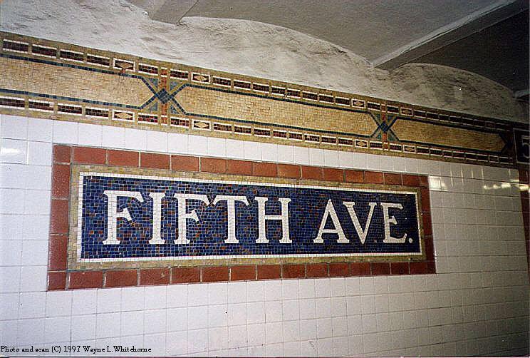 (108k, 744x502)<br><b>Country:</b> United States<br><b>City:</b> New York<br><b>System:</b> New York City Transit<br><b>Line:</b> BMT Broadway Line<br><b>Location:</b> 5th Avenue <br><b>Photo by:</b> Wayne Whitehorne<br><b>Date:</b> 10/31/1997<br><b>Notes:</b> Station name tablet-Vickers<br><b>Viewed (this week/total):</b> 2 / 4048