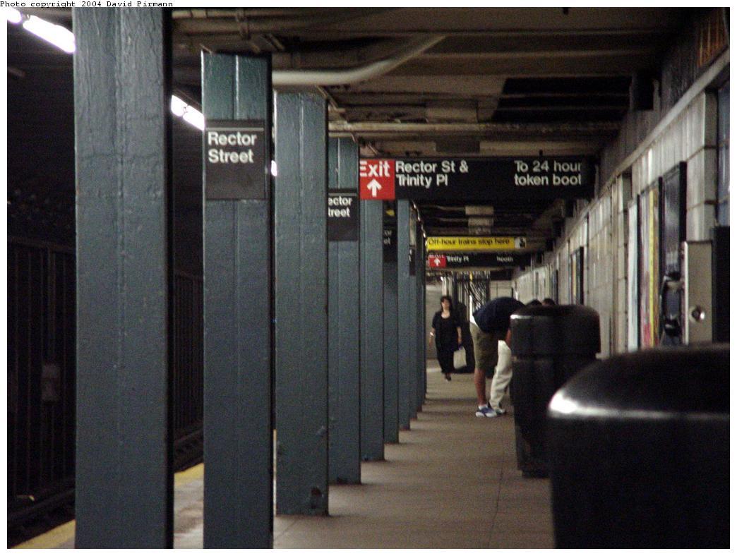 (116k, 1044x788)<br><b>Country:</b> United States<br><b>City:</b> New York<br><b>System:</b> New York City Transit<br><b>Line:</b> BMT Broadway Line<br><b>Location:</b> Rector Street <br><b>Photo by:</b> David Pirmann<br><b>Date:</b> 7/3/2000<br><b>Viewed (this week/total):</b> 1 / 4197