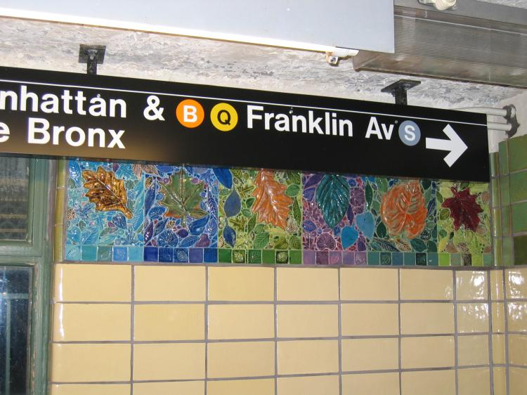 (77k, 750x562)<br><b>Country:</b> United States<br><b>City:</b> New York<br><b>System:</b> New York City Transit<br><b>Line:</b> BMT Brighton Line<br><b>Location:</b> Prospect Park <br><b>Photo by:</b> Robbie Rosenfeld<br><b>Date:</b> 3/16/2005<br><b>Artwork:</b> <i>Brighton Clay Re-Leaf</i>, Susan Tunick (1994).<br><b>Notes:</b> Art installation, south mezzanine.<br><b>Viewed (this week/total):</b> 1 / 4453