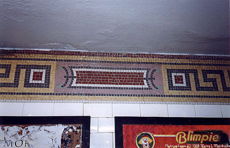 (103k, 749x483)<br><b>Country:</b> United States<br><b>City:</b> New York<br><b>System:</b> New York City Transit<br><b>Line:</b> BMT Nassau Street/Jamaica Line<br><b>Location:</b> Bowery <br><b>Photo by:</b> Wayne Whitehorne<br><b>Date:</b> 9/19/1998<br><b>Notes:</b> Grecian design small frieze in mezzanine-Vickers, 1913<br><b>Viewed (this week/total):</b> 0 / 3270