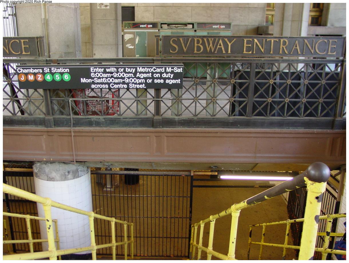 (95k, 820x620)<br><b>Country:</b> United States<br><b>City:</b> New York<br><b>System:</b> New York City Transit<br><b>Line:</b> BMT Nassau Street/Jamaica Line<br><b>Location:</b> Chambers Street <br><b>Photo by:</b> Richard Panse<br><b>Date:</b> 5/22/2002<br><b>Notes:</b> Street entrance<br><b>Viewed (this week/total):</b> 0 / 11021
