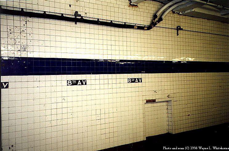 (99k, 744x491)<br><b>Country:</b> United States<br><b>City:</b> New York<br><b>System:</b> New York City Transit<br><b>Line:</b> BMT Canarsie Line<br><b>Location:</b> 8th Avenue <br><b>Route:</b> L<br><b>Photo by:</b> Wayne Whitehorne<br><b>Date:</b> 5/30/1998<br><b>Viewed (this week/total):</b> 0 / 2486