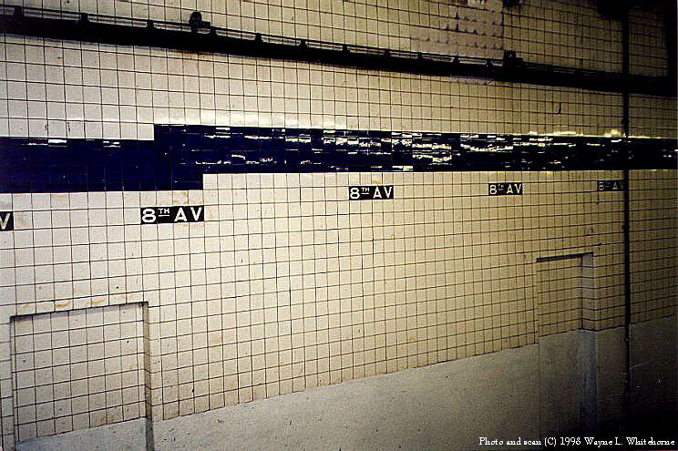 (110k, 744x495)<br><b>Country:</b> United States<br><b>City:</b> New York<br><b>System:</b> New York City Transit<br><b>Line:</b> BMT Canarsie Line<br><b>Location:</b> 8th Avenue <br><b>Route:</b> L<br><b>Photo by:</b> Wayne Whitehorne<br><b>Date:</b> 5/30/1998<br><b>Viewed (this week/total):</b> 2 / 3133