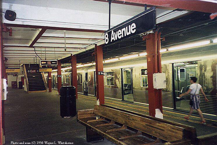(111k, 744x499)<br><b>Country:</b> United States<br><b>City:</b> New York<br><b>System:</b> New York City Transit<br><b>Line:</b> BMT Canarsie Line<br><b>Location:</b> 8th Avenue <br><b>Route:</b> L<br><b>Car:</b> R-42 (St. Louis, 1969-1970)   <br><b>Photo by:</b> Wayne Whitehorne<br><b>Date:</b> 5/30/1998<br><b>Viewed (this week/total):</b> 6 / 6336