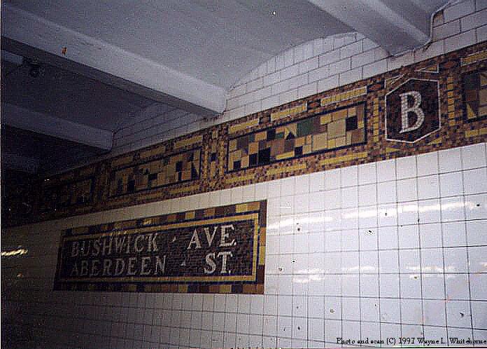 (90k, 696x498)<br><b>Country:</b> United States<br><b>City:</b> New York<br><b>System:</b> New York City Transit<br><b>Line:</b> BMT Canarsie Line<br><b>Location:</b> Bushwick-Aberdeen <br><b>Route:</b> L<br><b>Photo by:</b> Wayne Whitehorne<br><b>Date:</b> 8/23/1997<br><b>Viewed (this week/total):</b> 0 / 3180