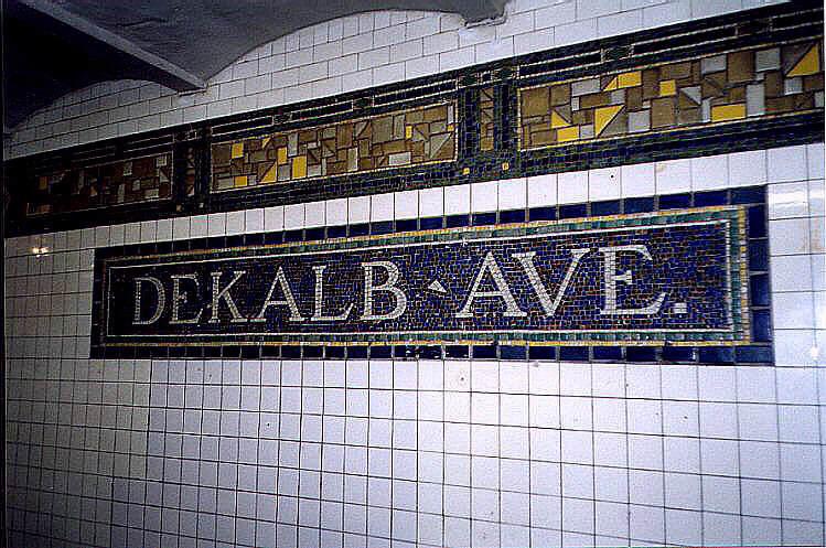 (101k, 749x497)<br><b>Country:</b> United States<br><b>City:</b> New York<br><b>System:</b> New York City Transit<br><b>Line:</b> BMT Canarsie Line<br><b>Location:</b> DeKalb Avenue <br><b>Route:</b> L<br><b>Photo by:</b> Wayne Whitehorne<br><b>Date:</b> 6/28/1998<br><b>Viewed (this week/total):</b> 2 / 2732