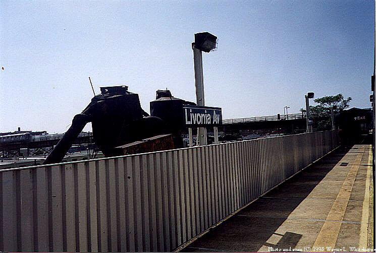(79k, 745x502)<br><b>Country:</b> United States<br><b>City:</b> New York<br><b>System:</b> New York City Transit<br><b>Line:</b> BMT Canarsie Line<br><b>Location:</b> Livonia Avenue <br><b>Route:</b> L<br><b>Photo by:</b> Wayne Whitehorne<br><b>Date:</b> 1998<br><b>Notes:</b> Livonia Avenue station shows original 1906 canopy. IRT Junius Street station is in background.<br><b>Viewed (this week/total):</b> 1 / 2965