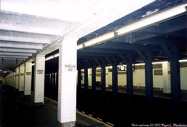 (77k, 731x499)<br><b>Country:</b> United States<br><b>City:</b> New York<br><b>System:</b> New York City Transit<br><b>Line:</b> BMT Canarsie Line<br><b>Location:</b> Morgan Avenue <br><b>Route:</b> L<br><b>Photo by:</b> Wayne Whitehorne<br><b>Date:</b> 9/28/1997<br><b>Viewed (this week/total):</b> 1 / 3912