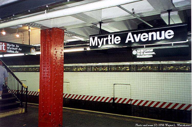 (106k, 750x497)<br><b>Country:</b> United States<br><b>City:</b> New York<br><b>System:</b> New York City Transit<br><b>Line:</b> BMT Canarsie Line<br><b>Location:</b> Myrtle Avenue <br><b>Route:</b> L<br><b>Photo by:</b> Wayne Whitehorne<br><b>Date:</b> 8/1/1998<br><b>Viewed (this week/total):</b> 1 / 4643