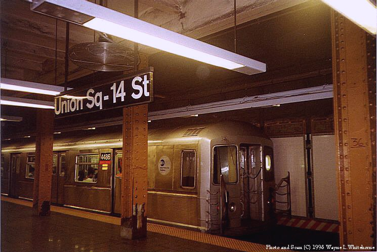 (81k, 745x498)<br><b>Country:</b> United States<br><b>City:</b> New York<br><b>System:</b> New York City Transit<br><b>Line:</b> BMT Canarsie Line<br><b>Location:</b> Union Square <br><b>Route:</b> L<br><b>Car:</b> R-40M (St. Louis, 1969)  4466 <br><b>Photo by:</b> Wayne Whitehorne<br><b>Date:</b> 8/21/1998<br><b>Viewed (this week/total):</b> 0 / 7297