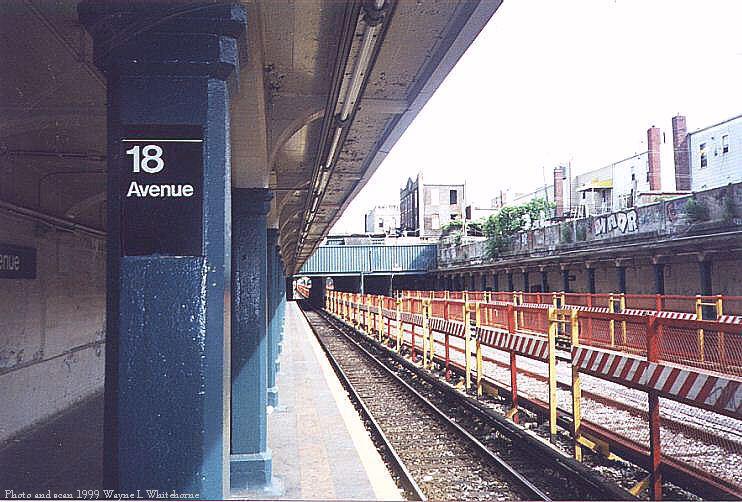 (89k, 742x502)<br><b>Country:</b> United States<br><b>City:</b> New York<br><b>System:</b> New York City Transit<br><b>Line:</b> BMT Sea Beach Line<br><b>Location:</b> 18th Avenue <br><b>Photo by:</b> Wayne Whitehorne<br><b>Date:</b> 6/4/1999<br><b>Viewed (this week/total):</b> 3 / 2886