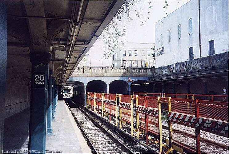 (101k, 744x501)<br><b>Country:</b> United States<br><b>City:</b> New York<br><b>System:</b> New York City Transit<br><b>Line:</b> BMT Sea Beach Line<br><b>Location:</b> 20th Avenue <br><b>Photo by:</b> Wayne Whitehorne<br><b>Date:</b> 6/4/1999<br><b>Notes:</b> 20th Ave. (Sea Beach)<br><b>Viewed (this week/total):</b> 0 / 2648
