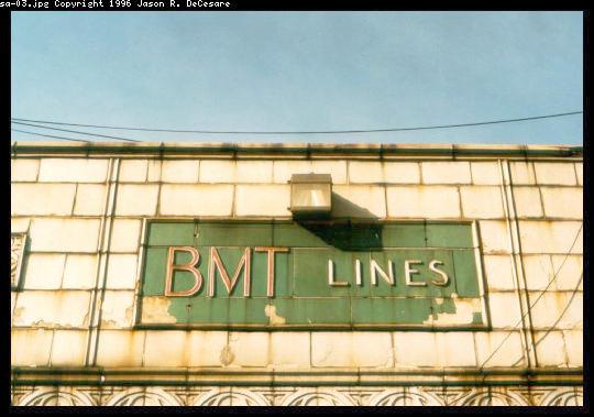 (42k, 540x379)<br><b>Country:</b> United States<br><b>City:</b> New York<br><b>System:</b> New York City Transit<br><b>Location:</b> Coney Island/Stillwell Avenue<br><b>Photo by:</b> Jason R. DeCesare<br><b>Date:</b> 1995<br><b>Notes:</b> BMT Sign<br><b>Viewed (this week/total):</b> 2 / 2220