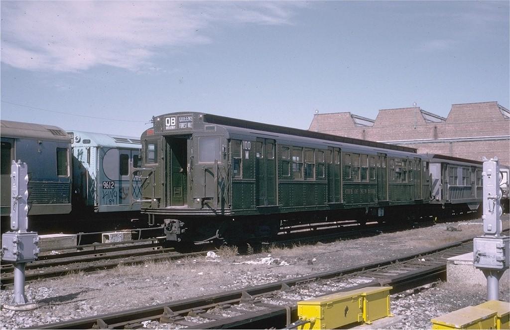 (199k, 1024x662)<br><b>Country:</b> United States<br><b>City:</b> New York<br><b>System:</b> New York City Transit<br><b>Location:</b> Coney Island Yard-Museum Yard<br><b>Car:</b> R-1 (American Car & Foundry, 1930-1931) 100 <br><b>Photo by:</b> Steve Zabel<br><b>Collection of:</b> Joe Testagrose<br><b>Date:</b> 3/18/1974<br><b>Viewed (this week/total):</b> 3 / 4860
