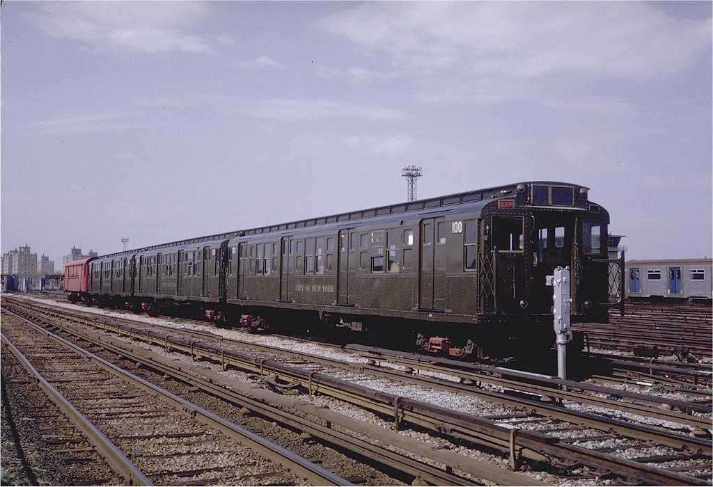 (249k, 1024x700)<br><b>Country:</b> United States<br><b>City:</b> New York<br><b>System:</b> New York City Transit<br><b>Location:</b> Coney Island Yard-Museum Yard<br><b>Car:</b> R-1 (American Car & Foundry, 1930-1931) 100 <br><b>Photo by:</b> Steve Zabel<br><b>Collection of:</b> Joe Testagrose<br><b>Date:</b> 5/11/1971<br><b>Viewed (this week/total):</b> 0 / 3458