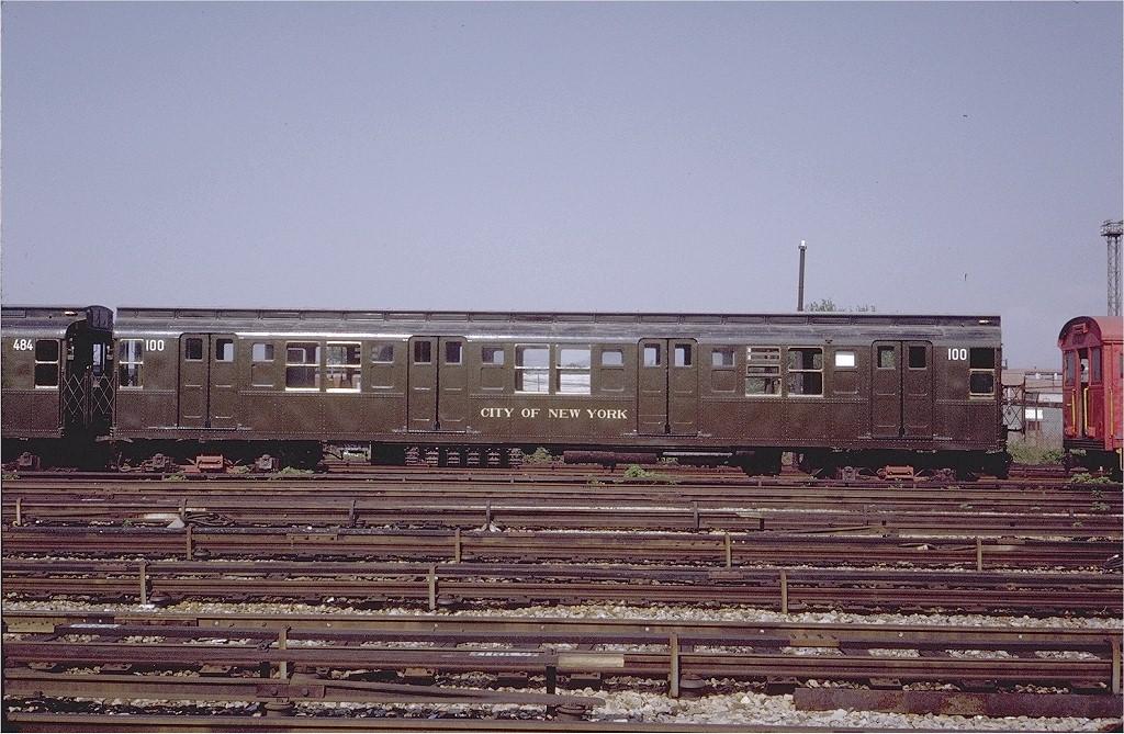 (238k, 1024x669)<br><b>Country:</b> United States<br><b>City:</b> New York<br><b>System:</b> New York City Transit<br><b>Location:</b> Coney Island Yard-Museum Yard<br><b>Car:</b> R-1 (American Car & Foundry, 1930-1931) 100 <br><b>Photo by:</b> Steve Zabel<br><b>Collection of:</b> Joe Testagrose<br><b>Date:</b> 5/25/1971<br><b>Viewed (this week/total):</b> 4 / 3235