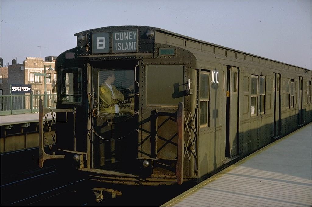 (171k, 1024x681)<br><b>Country:</b> United States<br><b>City:</b> New York<br><b>System:</b> New York City Transit<br><b>Line:</b> BMT West End Line<br><b>Location:</b> 55th Street <br><b>Route:</b> B<br><b>Car:</b> R-1 (American Car & Foundry, 1930-1931) 100 <br><b>Photo by:</b> Doug Grotjahn<br><b>Collection of:</b> Joe Testagrose<br><b>Date:</b> 10/7/1968<br><b>Viewed (this week/total):</b> 2 / 7044
