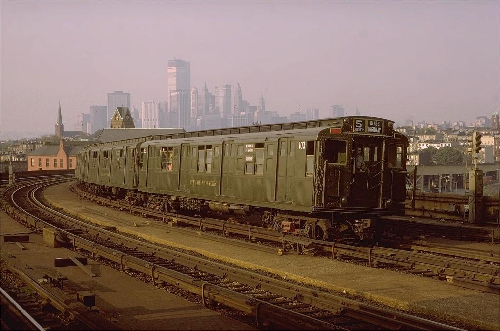(203k, 1024x678)<br><b>Country:</b> United States<br><b>City:</b> New York<br><b>System:</b> New York City Transit<br><b>Line:</b> IND Crosstown Line<br><b>Location:</b> Smith/9th Street <br><b>Route:</b> Fan Trip<br><b>Car:</b> R-1 (American Car & Foundry, 1930-1931) 103 <br><b>Photo by:</b> Joe Testagrose<br><b>Date:</b> 10/30/1971<br><b>Viewed (this week/total):</b> 3 / 17098