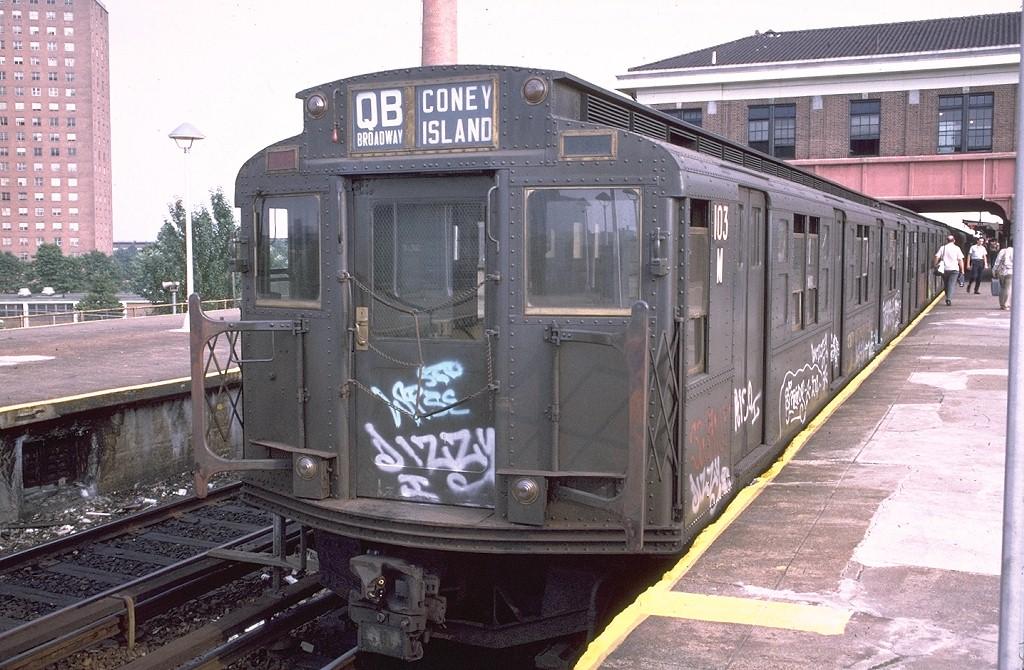 (228k, 1024x670)<br><b>Country:</b> United States<br><b>City:</b> New York<br><b>System:</b> New York City Transit<br><b>Location:</b> Coney Island/Stillwell Avenue<br><b>Route:</b> QB<br><b>Car:</b> R-1 (American Car & Foundry, 1930-1931) 103 <br><b>Photo by:</b> Doug Grotjahn<br><b>Collection of:</b> Joe Testagrose<br><b>Date:</b> 7/27/1973<br><b>Viewed (this week/total):</b> 0 / 4648