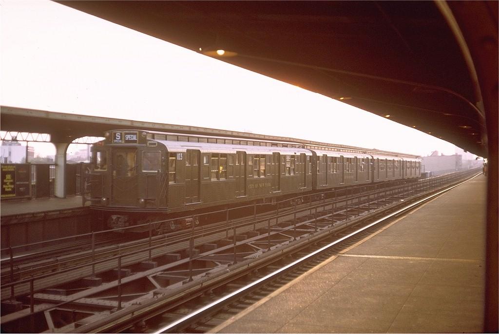 (172k, 1024x686)<br><b>Country:</b> United States<br><b>City:</b> New York<br><b>System:</b> New York City Transit<br><b>Line:</b> BMT Myrtle Avenue Line<br><b>Location:</b> Central Avenue <br><b>Route:</b> Fan Trip<br><b>Car:</b> R-1 (American Car & Foundry, 1930-1931) 103 <br><b>Photo by:</b> Steve Zabel<br><b>Collection of:</b> Joe Testagrose<br><b>Date:</b> 10/31/1971<br><b>Viewed (this week/total):</b> 4 / 3688