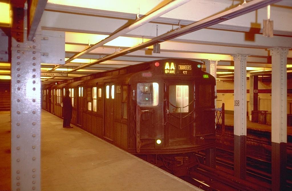 (177k, 1024x669)<br><b>Country:</b> United States<br><b>City:</b> New York<br><b>System:</b> New York City Transit<br><b>Line:</b> IND 8th Avenue Line<br><b>Location:</b> 168th Street <br><b>Route:</b> AA<br><b>Car:</b> R-1 (American Car & Foundry, 1930-1931) 106 <br><b>Photo by:</b> Doug Grotjahn<br><b>Collection of:</b> Joe Testagrose<br><b>Date:</b> 2/16/1969<br><b>Viewed (this week/total):</b> 2 / 9293