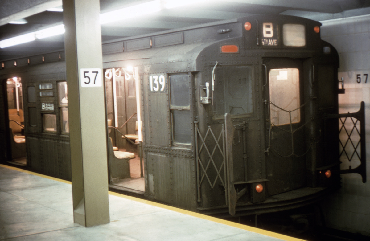 (314k, 1044x712)<br><b>Country:</b> United States<br><b>City:</b> New York<br><b>System:</b> New York City Transit<br><b>Line:</b> IND 6th Avenue Line<br><b>Location:</b> 57th Street <br><b>Route:</b> B<br><b>Car:</b> R-1 (American Car & Foundry, 1930-1931) 139 <br><b>Photo by:</b> Doug Grotjahn<br><b>Collection of:</b> David Pirmann<br><b>Date:</b> 10/1/1968<br><b>Viewed (this week/total):</b> 2 / 4554