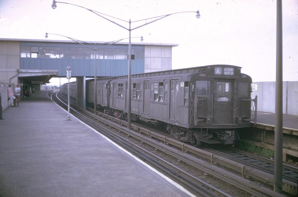 (174k, 1024x678)<br><b>Country:</b> United States<br><b>City:</b> New York<br><b>System:</b> New York City Transit<br><b>Line:</b> IND Rockaway<br><b>Location:</b> Broad Channel <br><b>Route:</b> A<br><b>Car:</b> R-1 (American Car & Foundry, 1930-1931) 148 <br><b>Photo by:</b> Doug Grotjahn<br><b>Collection of:</b> Joe Testagrose<br><b>Date:</b> 8/10/1969<br><b>Viewed (this week/total):</b> 1 / 3981