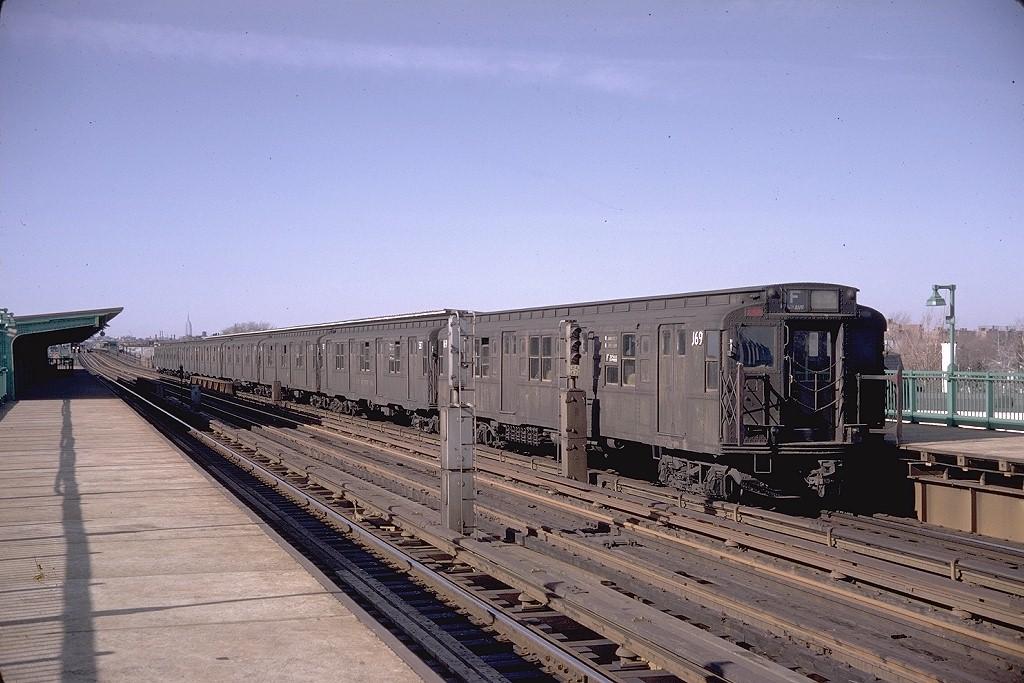 (200k, 1024x683)<br><b>Country:</b> United States<br><b>City:</b> New York<br><b>System:</b> New York City Transit<br><b>Line:</b> BMT Culver Line<br><b>Location:</b> Bay Parkway (22nd Avenue) <br><b>Route:</b> F<br><b>Car:</b> R-1 (American Car & Foundry, 1930-1931) 169 <br><b>Photo by:</b> Doug Grotjahn<br><b>Collection of:</b> Joe Testagrose<br><b>Date:</b> 3/30/1968<br><b>Viewed (this week/total):</b> 0 / 3637