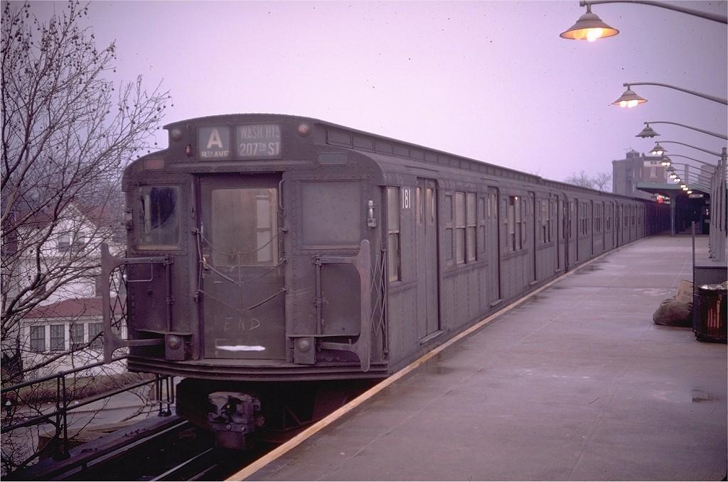 (189k, 1024x679)<br><b>Country:</b> United States<br><b>City:</b> New York<br><b>System:</b> New York City Transit<br><b>Line:</b> IND Rockaway<br><b>Location:</b> Mott Avenue/Far Rockaway <br><b>Route:</b> A<br><b>Car:</b> R-1 (American Car & Foundry, 1930-1931) 181 <br><b>Photo by:</b> Doug Grotjahn<br><b>Collection of:</b> Joe Testagrose<br><b>Date:</b> 2/1/1969<br><b>Viewed (this week/total):</b> 0 / 6748