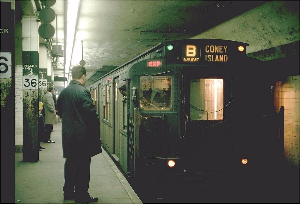 (175k, 1024x697)<br><b>Country:</b> United States<br><b>City:</b> New York<br><b>System:</b> New York City Transit<br><b>Line:</b> BMT 4th Avenue<br><b>Location:</b> 36th Street <br><b>Route:</b> B<br><b>Car:</b> R-1 (American Car & Foundry, 1930-1931) 247 <br><b>Photo by:</b> Joe Testagrose<br><b>Date:</b> 2/26/1968<br><b>Viewed (this week/total):</b> 10 / 6072