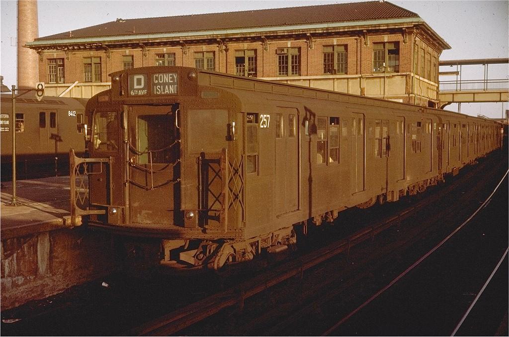 (251k, 1024x678)<br><b>Country:</b> United States<br><b>City:</b> New York<br><b>System:</b> New York City Transit<br><b>Location:</b> Coney Island/Stillwell Avenue<br><b>Route:</b> D<br><b>Car:</b> R-1 (American Car & Foundry, 1930-1931) 257 <br><b>Photo by:</b> Doug Grotjahn<br><b>Collection of:</b> Joe Testagrose<br><b>Date:</b> 6/28/1964<br><b>Viewed (this week/total):</b> 0 / 5361