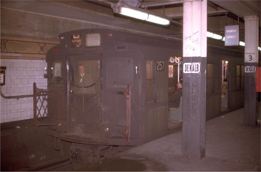 (149k, 1024x678)<br><b>Country:</b> United States<br><b>City:</b> New York<br><b>System:</b> New York City Transit<br><b>Location:</b> DeKalb Avenue<br><b>Route:</b> D<br><b>Car:</b> R-1 (American Car & Foundry, 1930-1931) 257 <br><b>Collection of:</b> Joe Testagrose<br><b>Date:</b> 12/31/1969<br><b>Viewed (this week/total):</b> 2 / 3910