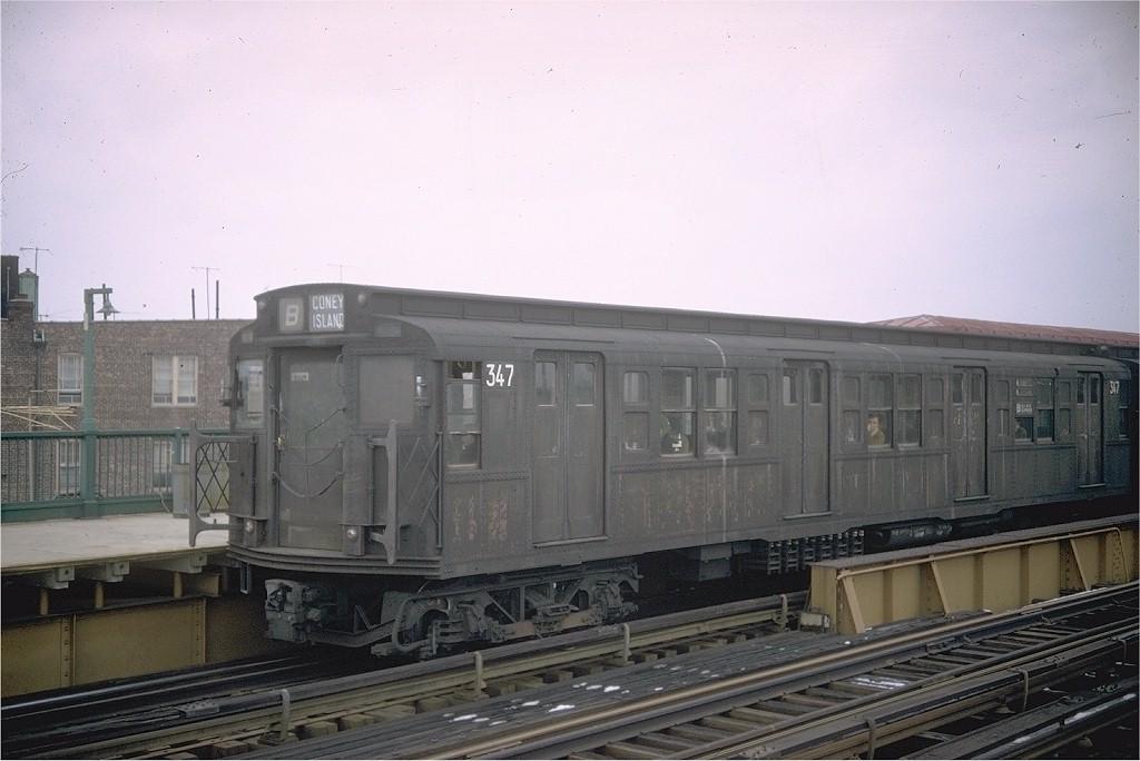 (160k, 1024x684)<br><b>Country:</b> United States<br><b>City:</b> New York<br><b>System:</b> New York City Transit<br><b>Line:</b> BMT West End Line<br><b>Location:</b> 79th Street <br><b>Route:</b> B<br><b>Car:</b> R-1 (American Car & Foundry, 1930-1931) 347 <br><b>Photo by:</b> Doug Grotjahn<br><b>Collection of:</b> Joe Testagrose<br><b>Date:</b> 3/2/1968<br><b>Viewed (this week/total):</b> 2 / 4209