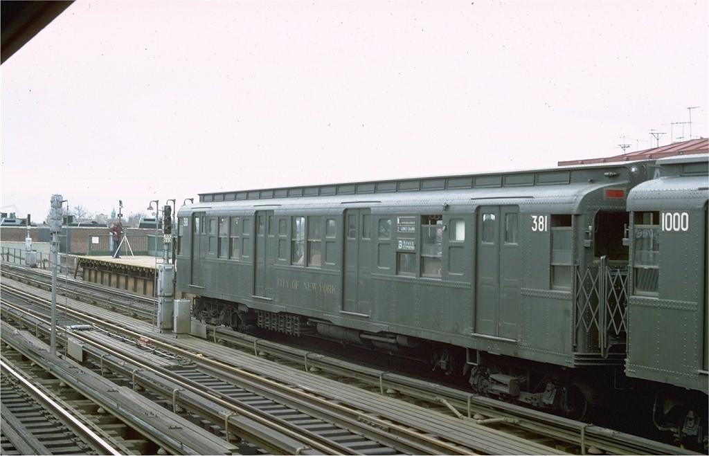 (154k, 1024x659)<br><b>Country:</b> United States<br><b>City:</b> New York<br><b>System:</b> New York City Transit<br><b>Line:</b> BMT West End Line<br><b>Location:</b> 50th Street <br><b>Route:</b> Fan Trip<br><b>Car:</b> R-1 (American Car & Foundry, 1930-1931) 381 <br><b>Photo by:</b> Ed McKernan<br><b>Collection of:</b> Joe Testagrose<br><b>Date:</b> 3/20/1977<br><b>Viewed (this week/total):</b> 0 / 5823