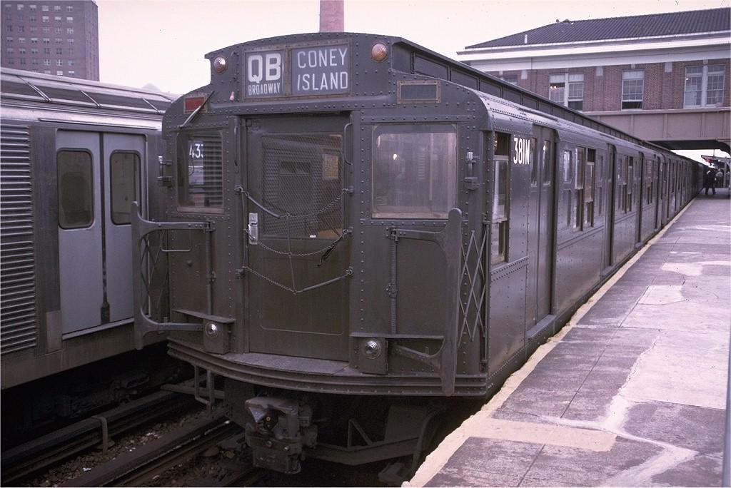 (207k, 1024x684)<br><b>Country:</b> United States<br><b>City:</b> New York<br><b>System:</b> New York City Transit<br><b>Location:</b> Coney Island/Stillwell Avenue<br><b>Route:</b> QB<br><b>Car:</b> R-1 (American Car & Foundry, 1930-1931) 381 <br><b>Photo by:</b> Doug Grotjahn<br><b>Collection of:</b> Joe Testagrose<br><b>Date:</b> 9/4/1974<br><b>Viewed (this week/total):</b> 1 / 3680