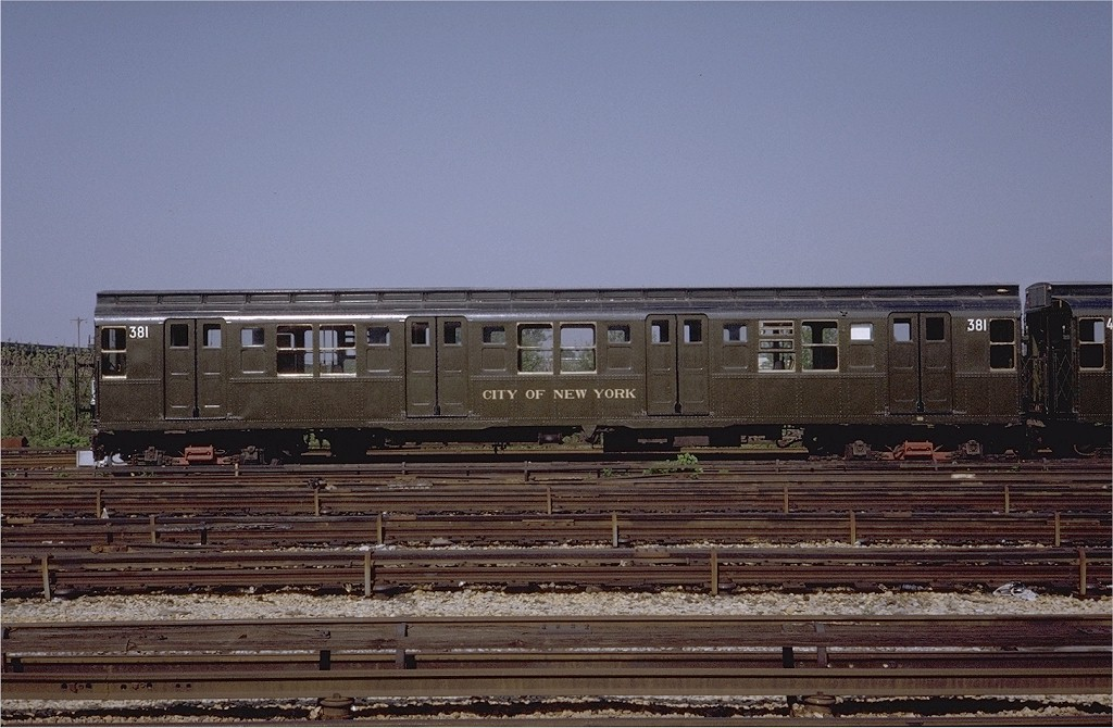 (195k, 1024x670)<br><b>Country:</b> United States<br><b>City:</b> New York<br><b>System:</b> New York City Transit<br><b>Location:</b> Coney Island Yard-Museum Yard<br><b>Car:</b> R-1 (American Car & Foundry, 1930-1931) 381 <br><b>Photo by:</b> Steve Zabel<br><b>Collection of:</b> Joe Testagrose<br><b>Date:</b> 5/25/1971<br><b>Viewed (this week/total):</b> 0 / 4315