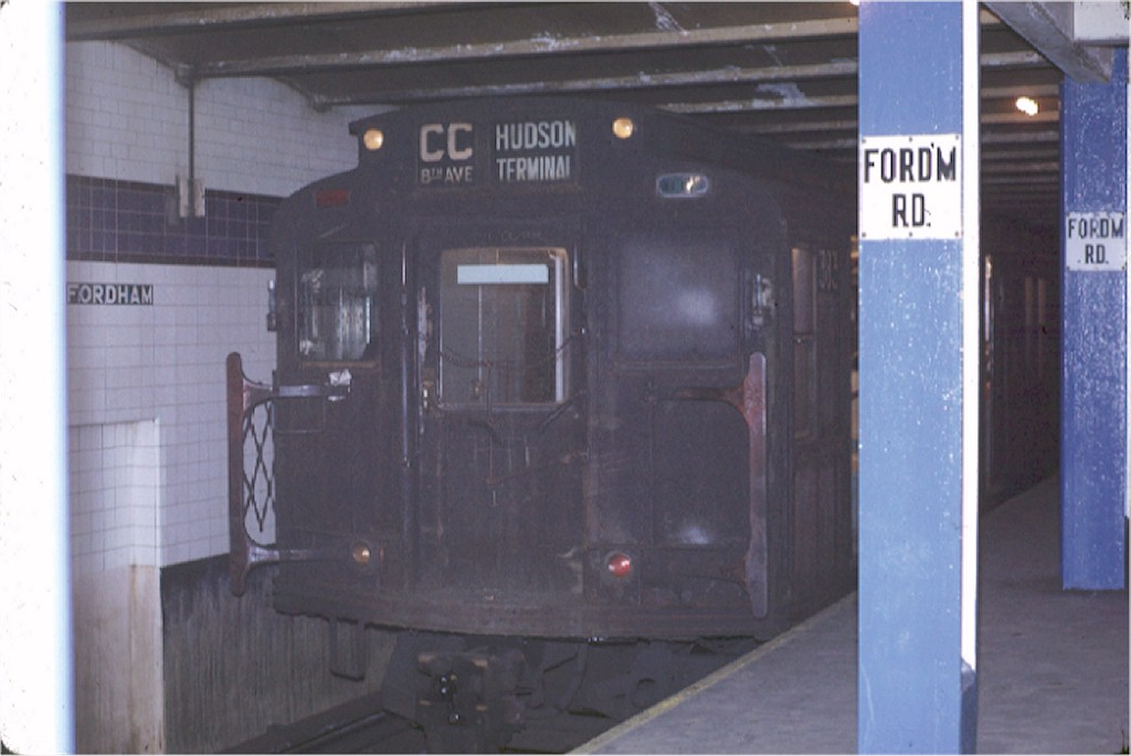 (127k, 1024x685)<br><b>Country:</b> United States<br><b>City:</b> New York<br><b>System:</b> New York City Transit<br><b>Line:</b> IND Concourse Line<br><b>Location:</b> Fordham Road <br><b>Route:</b> CC<br><b>Car:</b> R-1 (American Car & Foundry, 1930-1931) 383 <br><b>Photo by:</b> Joe Testagrose<br><b>Date:</b> 12/31/1970<br><b>Viewed (this week/total):</b> 2 / 4604