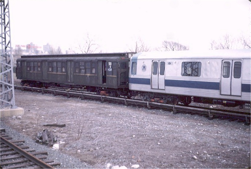 (148k, 1024x689)<br><b>Country:</b> United States<br><b>City:</b> New York<br><b>System:</b> New York City Transit<br><b>Location:</b> LIRR Shea Stadium <br><b>Car:</b> R-1 (American Car & Foundry, 1930-1931) M501 (ex-397)<br><b>Photo by:</b> Doug Grotjahn<br><b>Collection of:</b> Joe Testagrose<br><b>Date:</b> 2/4/1973<br><b>Notes:</b> Testing on LIRR.<br><b>Viewed (this week/total):</b> 2 / 4537