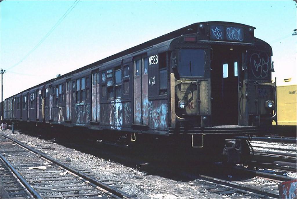 (168k, 1024x687)<br><b>Country:</b> United States<br><b>City:</b> New York<br><b>System:</b> New York City Transit<br><b>Location:</b> 36th Street Yard<br><b>Car:</b> R-1 (American Car & Foundry, 1930-1931) M528 (ex-388)<br><b>Photo by:</b> Steve Zabel<br><b>Collection of:</b> Joe Testagrose<br><b>Date:</b> 6/18/1981<br><b>Viewed (this week/total):</b> 3 / 3966