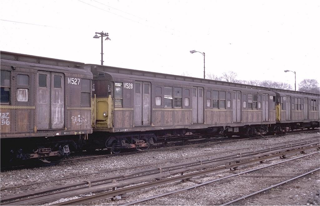 (185k, 1024x660)<br><b>Country:</b> United States<br><b>City:</b> New York<br><b>System:</b> New York City Transit<br><b>Location:</b> 36th Street Yard<br><b>Car:</b> R-1 (American Car & Foundry, 1930-1931) M528 (ex-388)<br><b>Photo by:</b> Steve Zabel<br><b>Collection of:</b> Joe Testagrose<br><b>Date:</b> 3/26/1974<br><b>Viewed (this week/total):</b> 0 / 2937