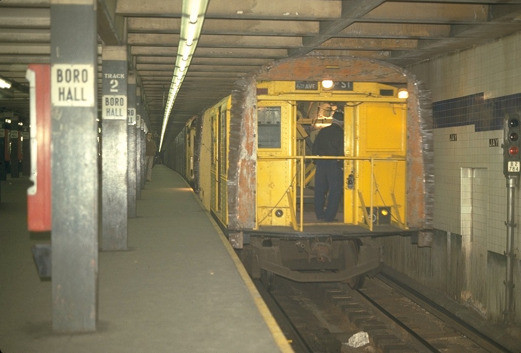 (172k, 1024x694)<br><b>Country:</b> United States<br><b>City:</b> New York<br><b>System:</b> New York City Transit<br><b>Line:</b> IND 8th Avenue Line<br><b>Location:</b> Jay St./Metrotech (Borough Hall) <br><b>Car:</b> R-1 (American Car & Foundry, 1930-1931) XC575 (ex-192)<br><b>Photo by:</b> Joe Testagrose<br><b>Date:</b> 5/7/1970<br><b>Notes:</b> 75' Test Car ex-192<br><b>Viewed (this week/total):</b> 5 / 4058